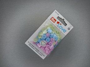 """Patentky """"Color snaps"""" PRYM LOVE srdíčka modro-zelená"""