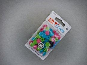 """Patentky """"Color snaps"""" PRYM LOVE květinky růžovo-zelené"""