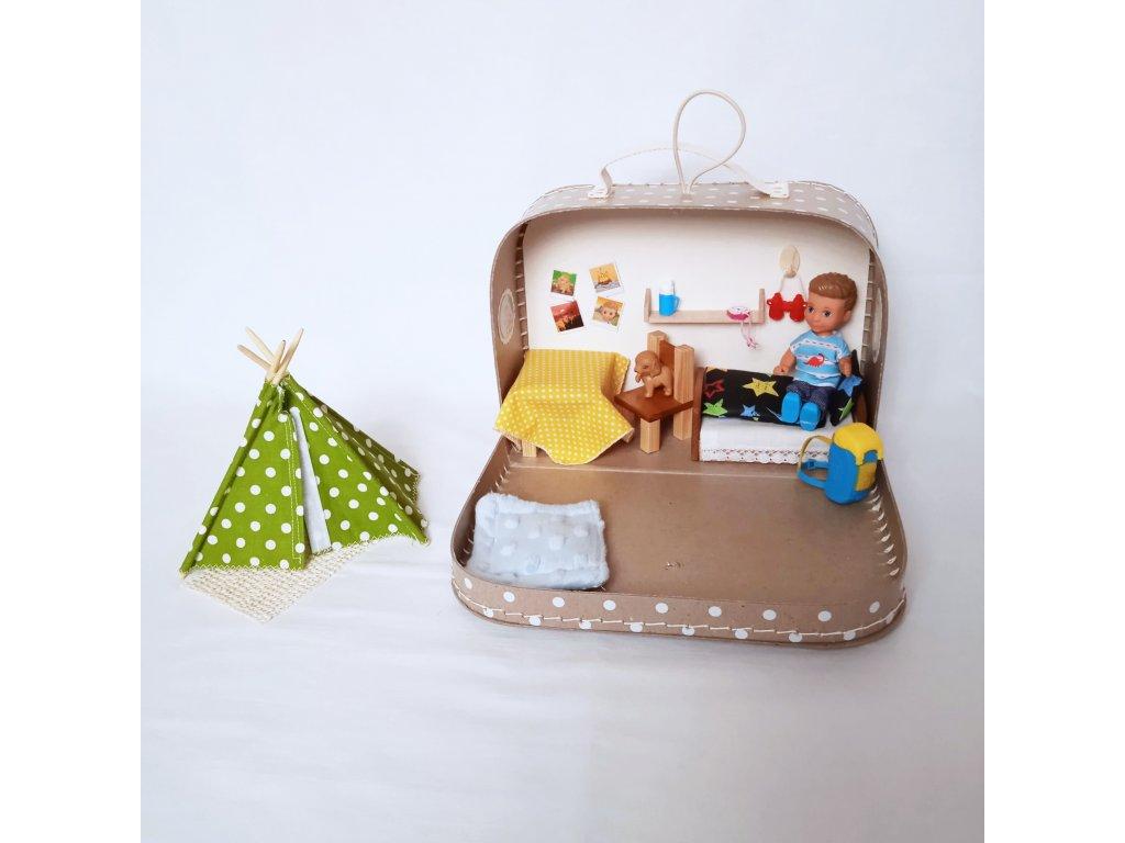 Béžový domeček pro malého cestovatele