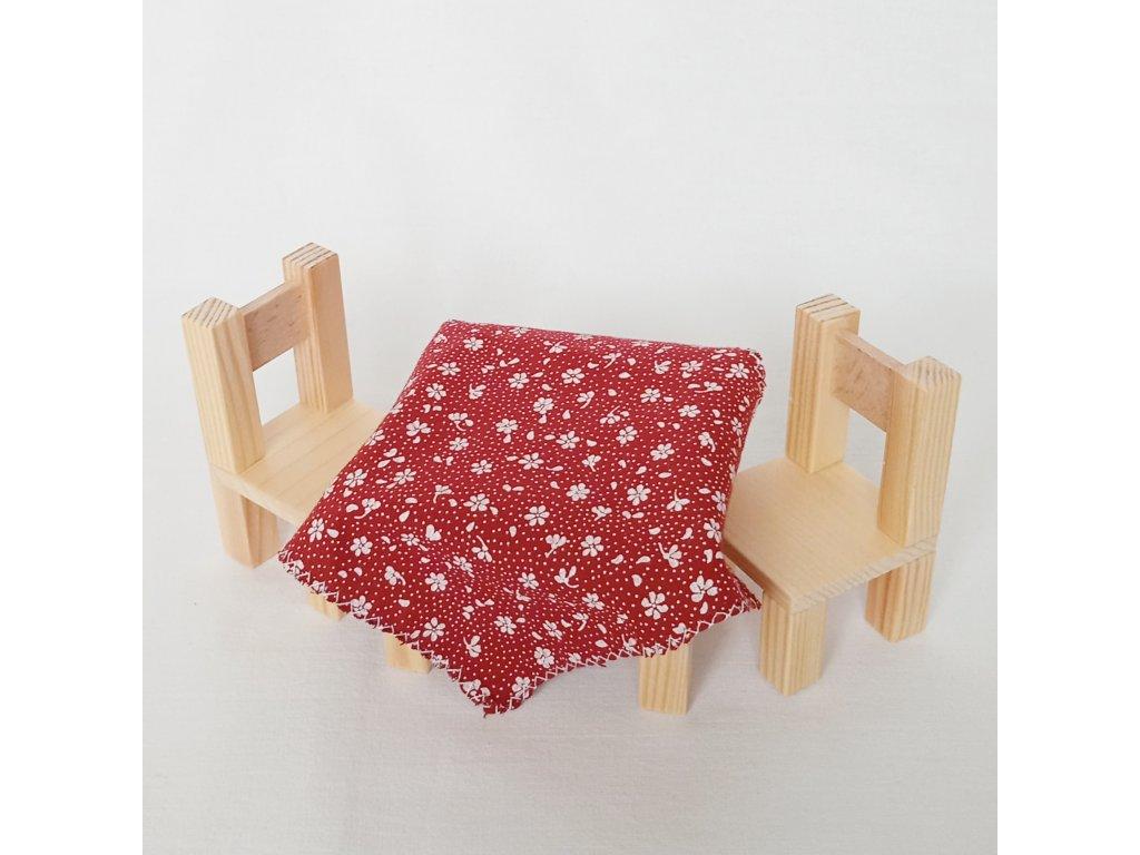 stolek a židle - přírodní/bordó ubrus
