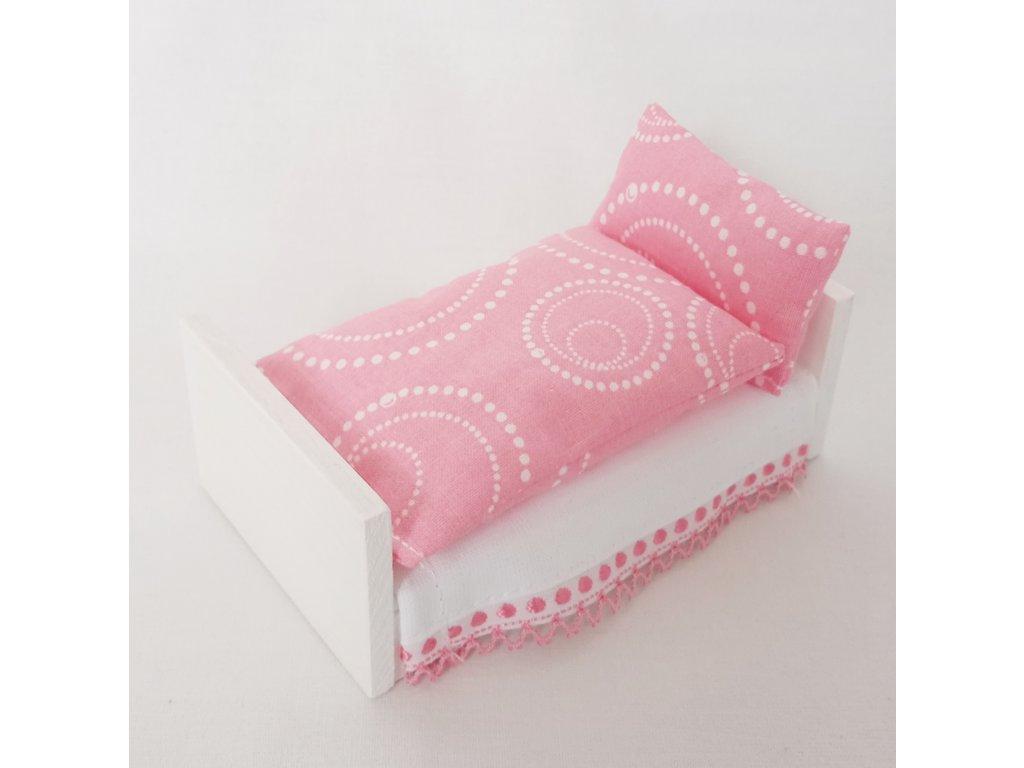 postel - bílá/růžové povlečení