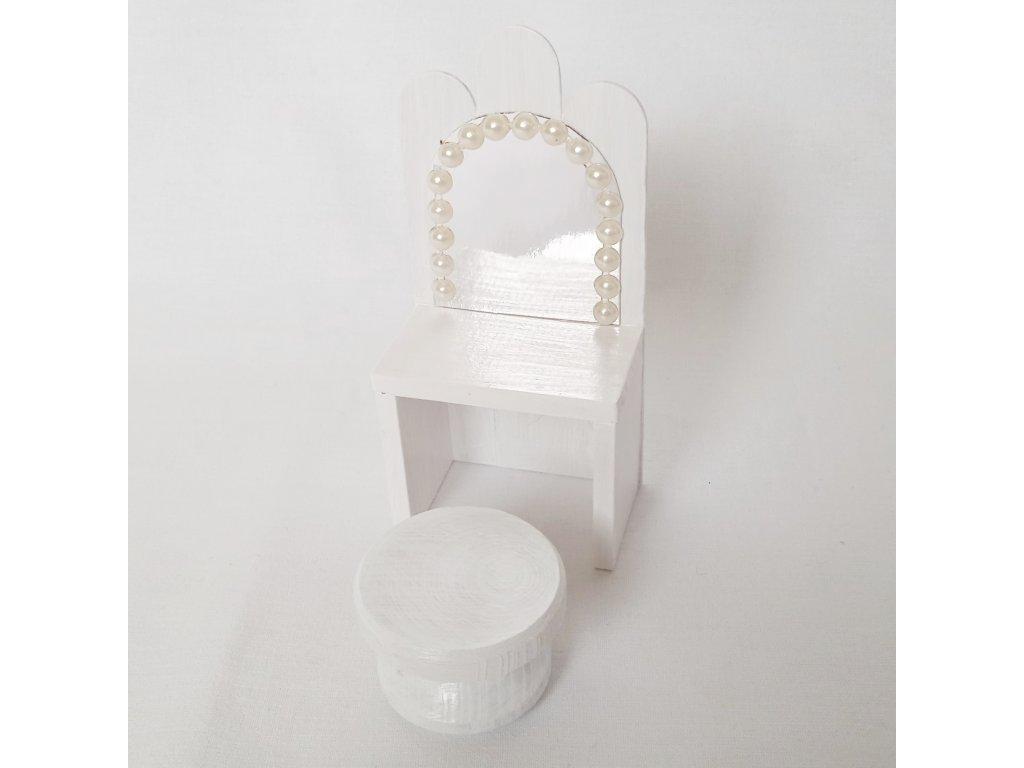 noční stolek se zrcadlem - bílý perlový