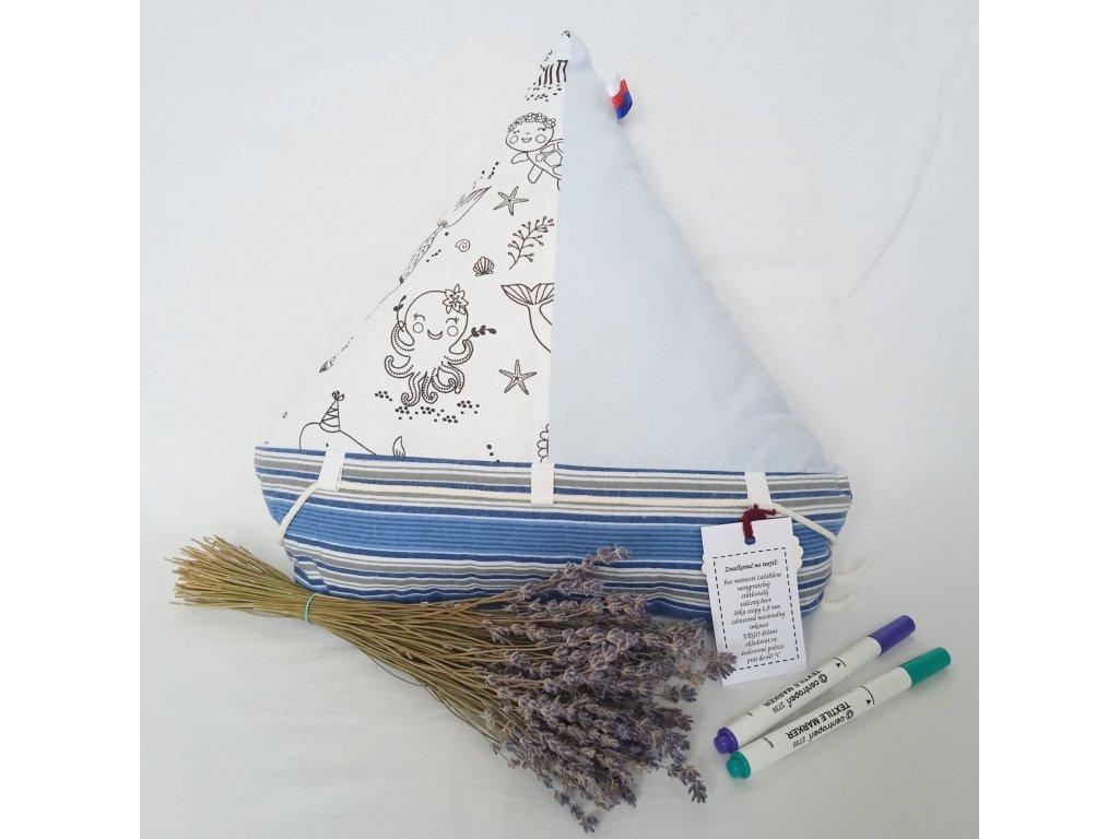 Velký polštář k vybarvení - Loď s levandulí 36 x 38 cm