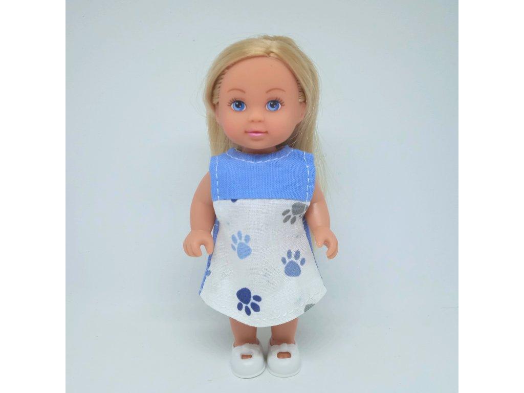 Šaty Evička modré s tlapkami