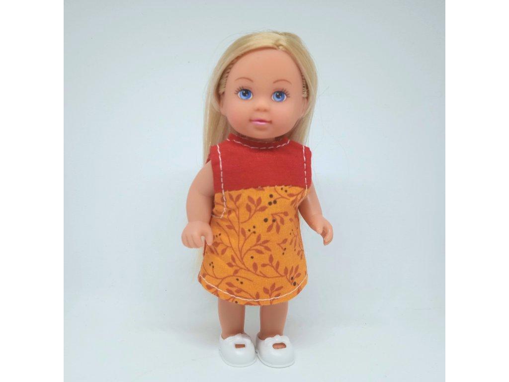 Šaty Evička červeno-oranžové s květy