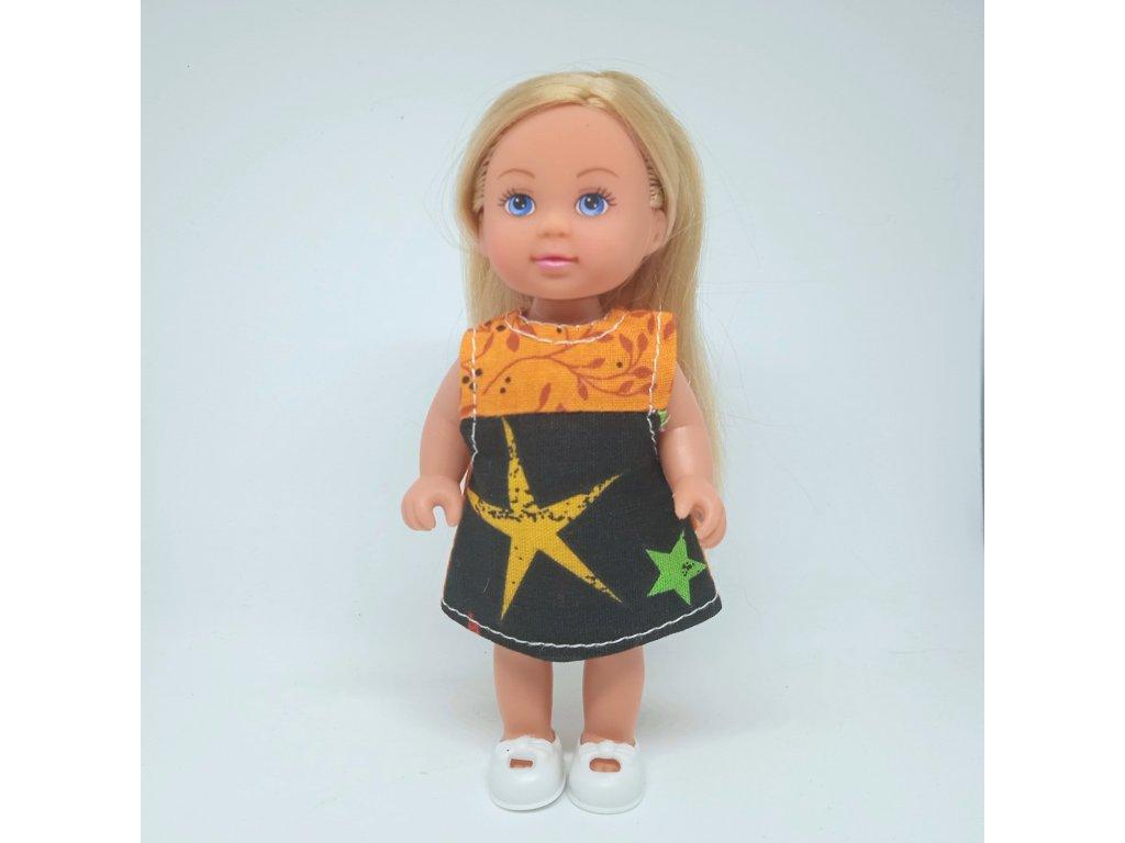 Šaty Evička oranžovo-černé s hvězdou