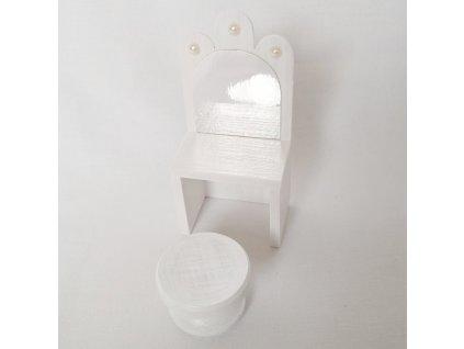 noční stolek se zrcadlem - bílý