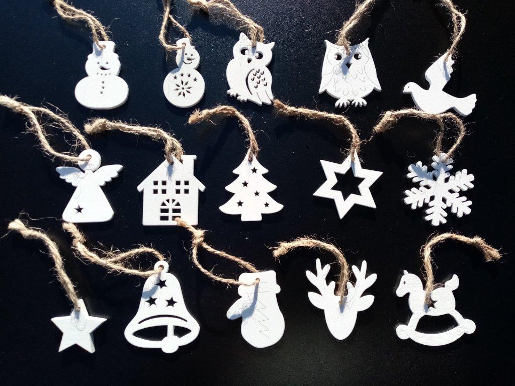 Dřevěné vánoční dekorace mix 50 kusů