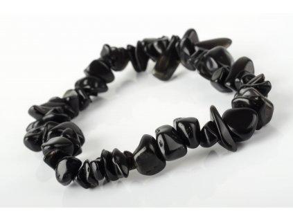 Obsidián černý náramek tromlovaný