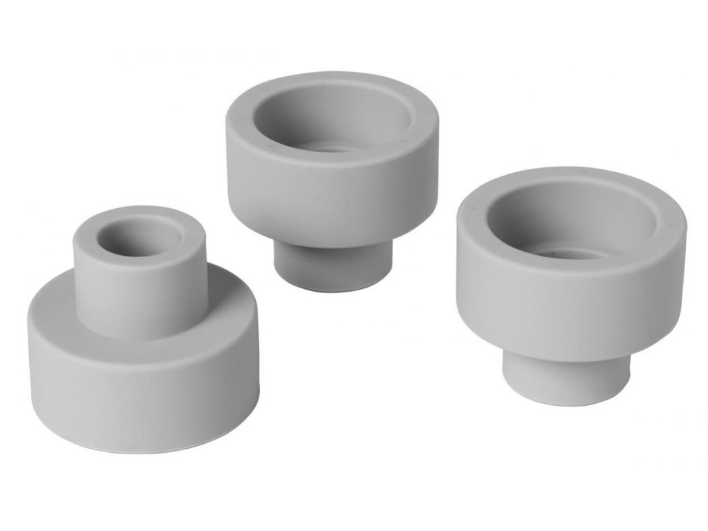 Silikonový oboustranný držák na svíčky set 3 ks, světle šedý BLOMUS