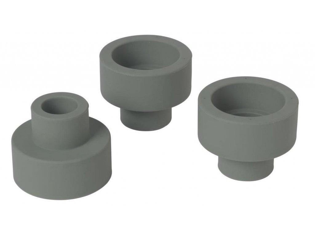 Silikonový oboustranný držák na svíčky set 3 ks, khaki BLOMUS