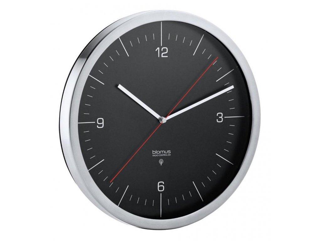 Rádiem řízené nástěnné hodiny, matný nerez, tmavé BLOMUS