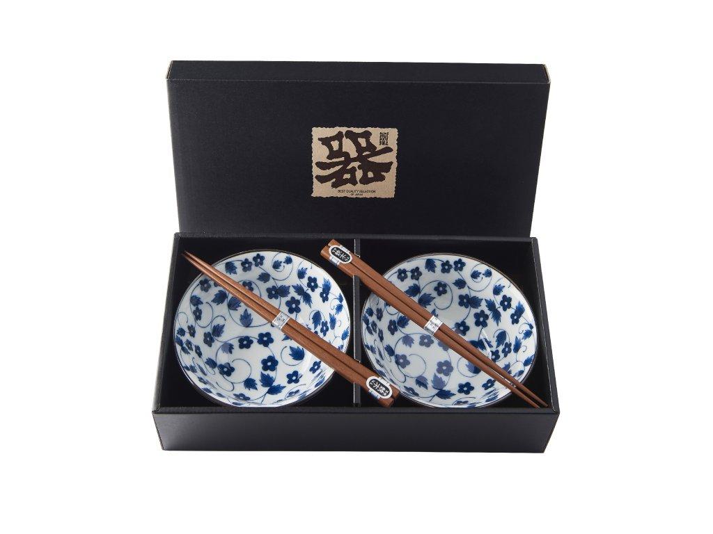 Made in Japan Set misek s hůlkami kvítky bílomodrý 500 ml 2 ks