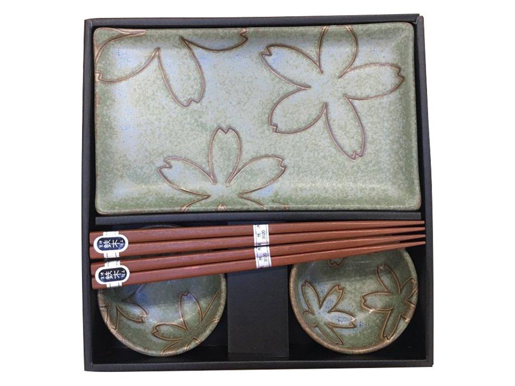Made in Japan Sushi set s květinovým motivem světle zelený 6 ks