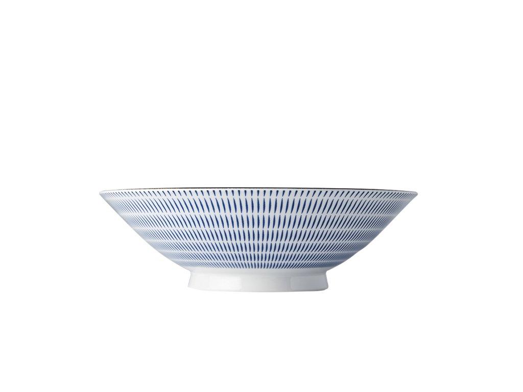 Made in Japan Velká mísa s modrými linkami 25 cm 1,2 l