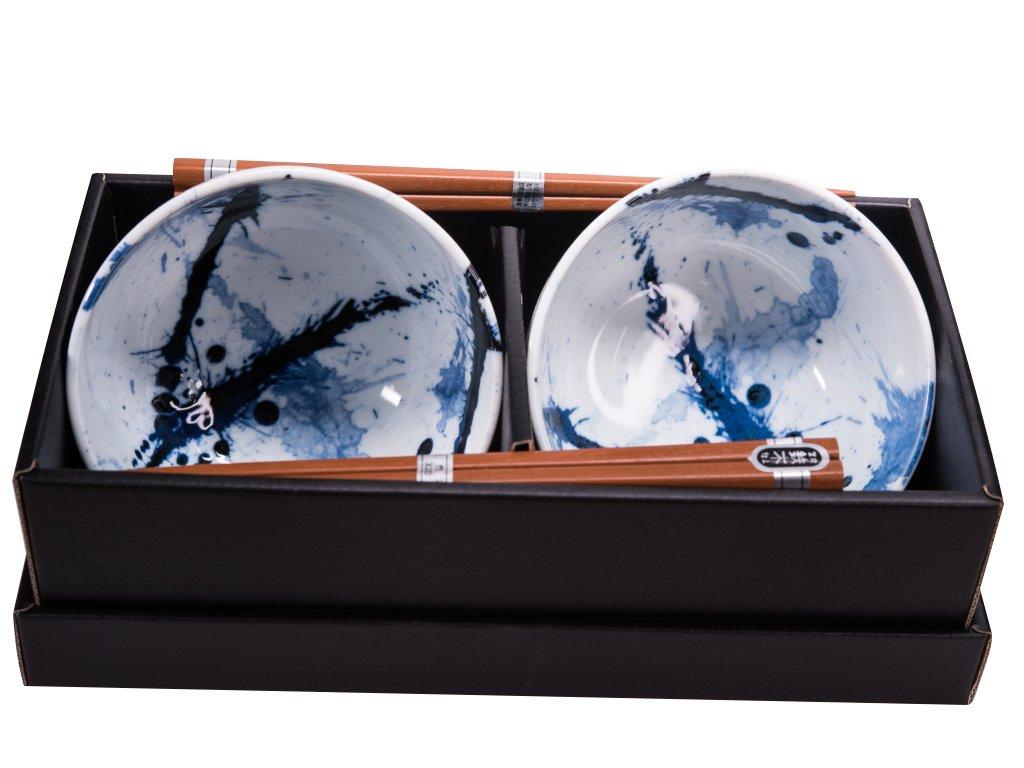 Made in Japan Set misek Blue & White s hůlkami 500 ml 2 ks