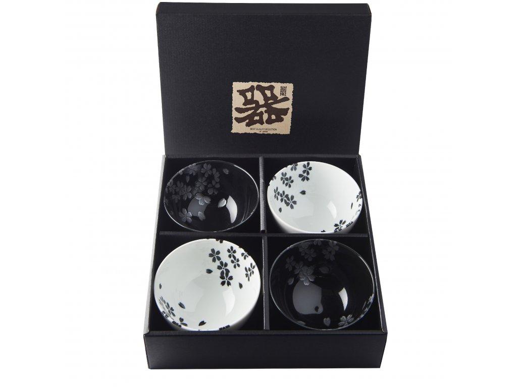 Made in Japan Set misek Black & White Sakura 260 ml 4 ks