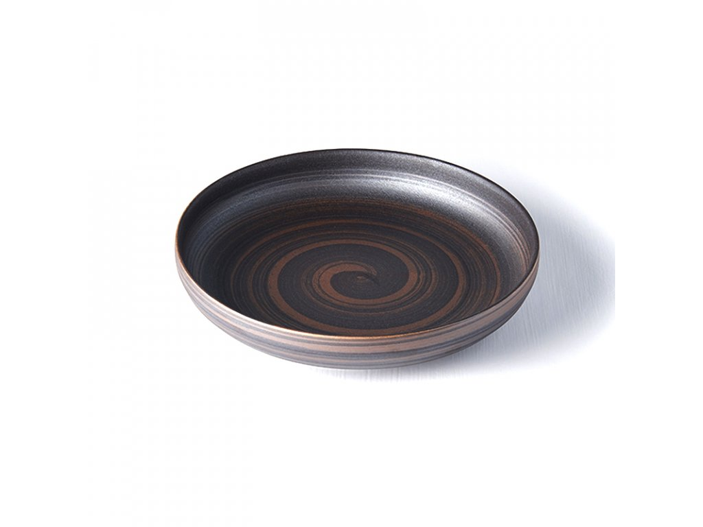 Made in Japan Mělký talíř s vysokým okrajem metalický 22 cm