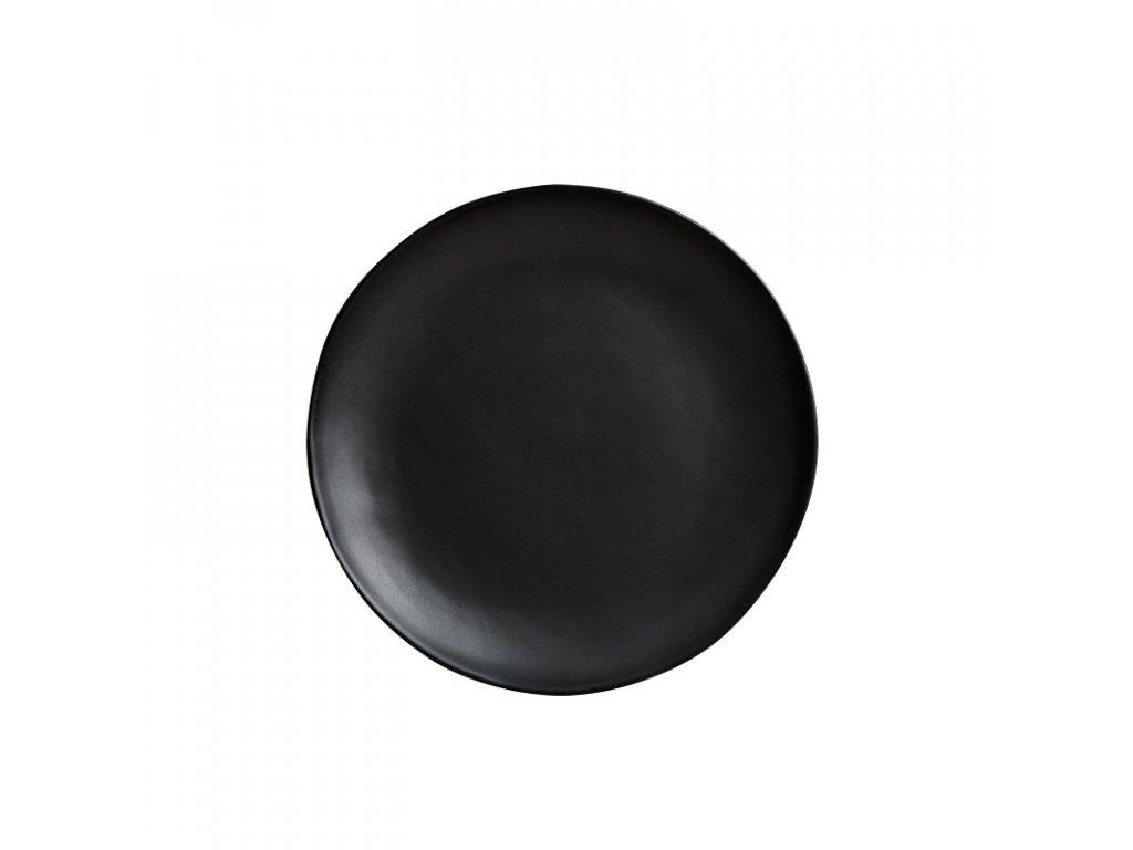 Made in Japan Mělký talíř s nepravidelným okrajem MT 24 cm černý