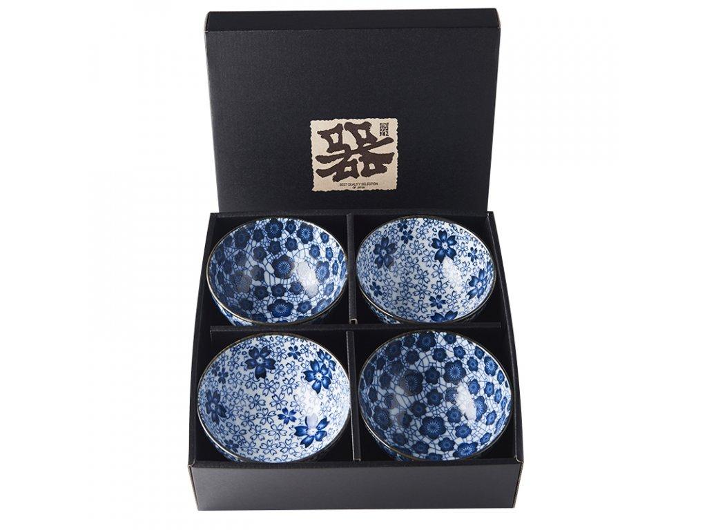 Made in Japan Set misek Blue Plum & Cherry Blossom Design 300 ml 4 ks
