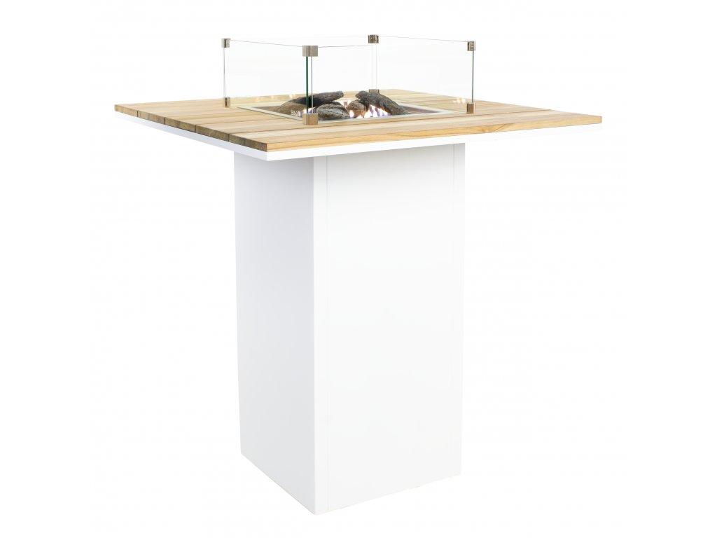 Krbový plynový stůl Cosiloft barový stůl bílý rám / deska teak