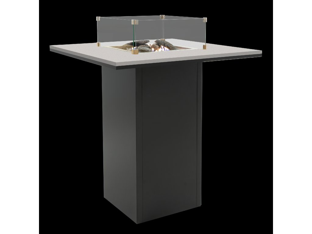 Krbový plynový stůl Cosiloft barový stůl černý rám / šedá deska