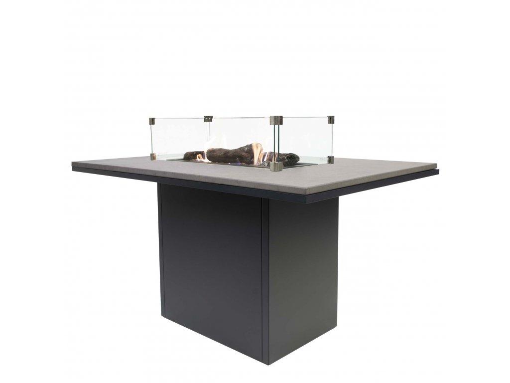 Krbový plynový stůl Cosiloft 120 vysoký jídelní stůl černý rám / deska šedá (neobsahuje sklo)