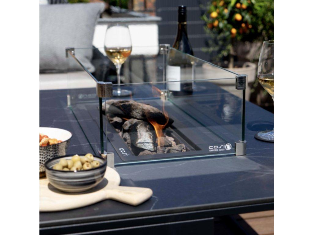 Plynové ohniště, vestavba do stolu, Cosiburner podélný - nerezová ocel