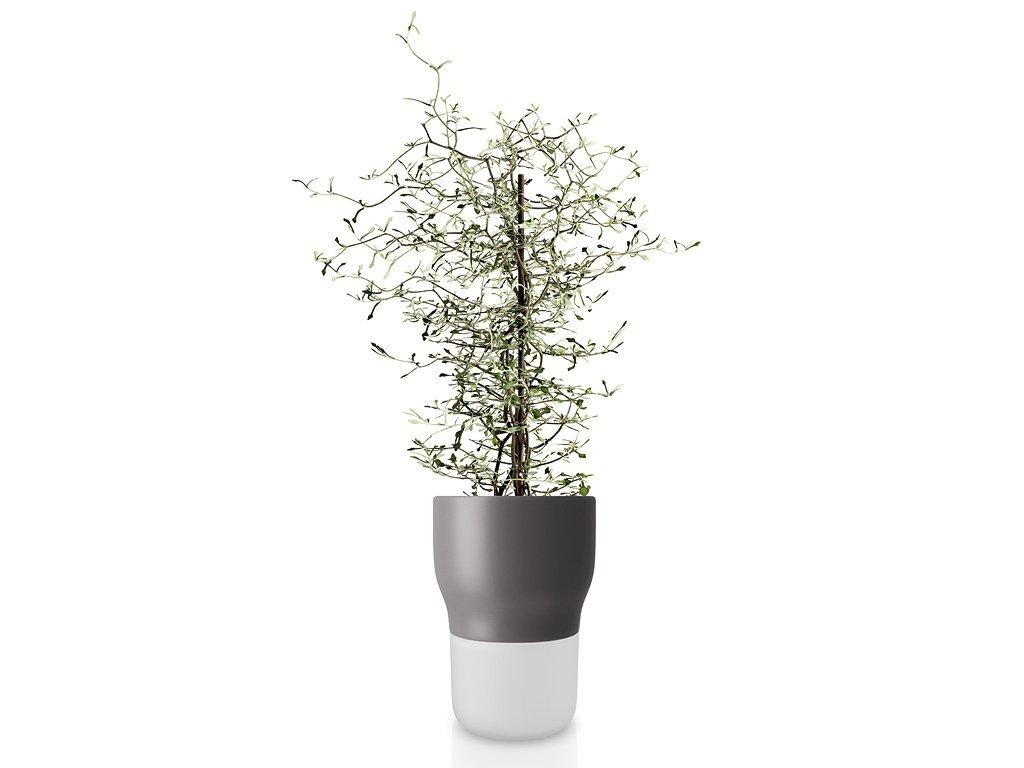 Samozavlažovací keramický květináč šedý Ø 13 cm, Eva Solo