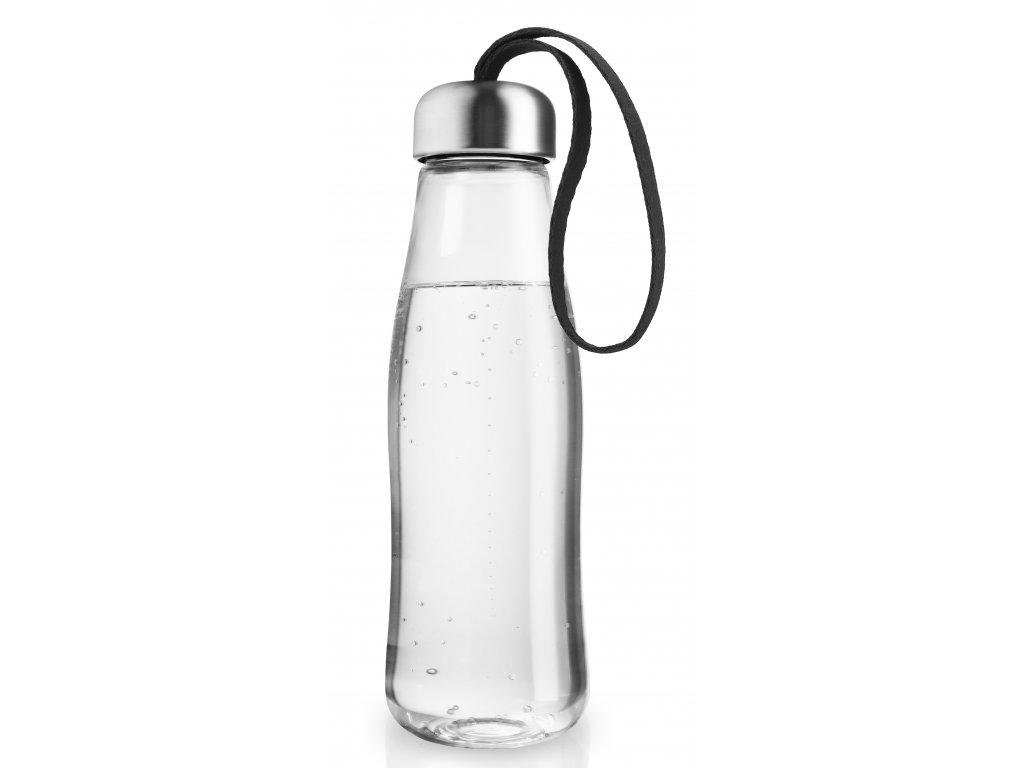 Skleněná láhev na pití s černým řemínkem Eva Solo