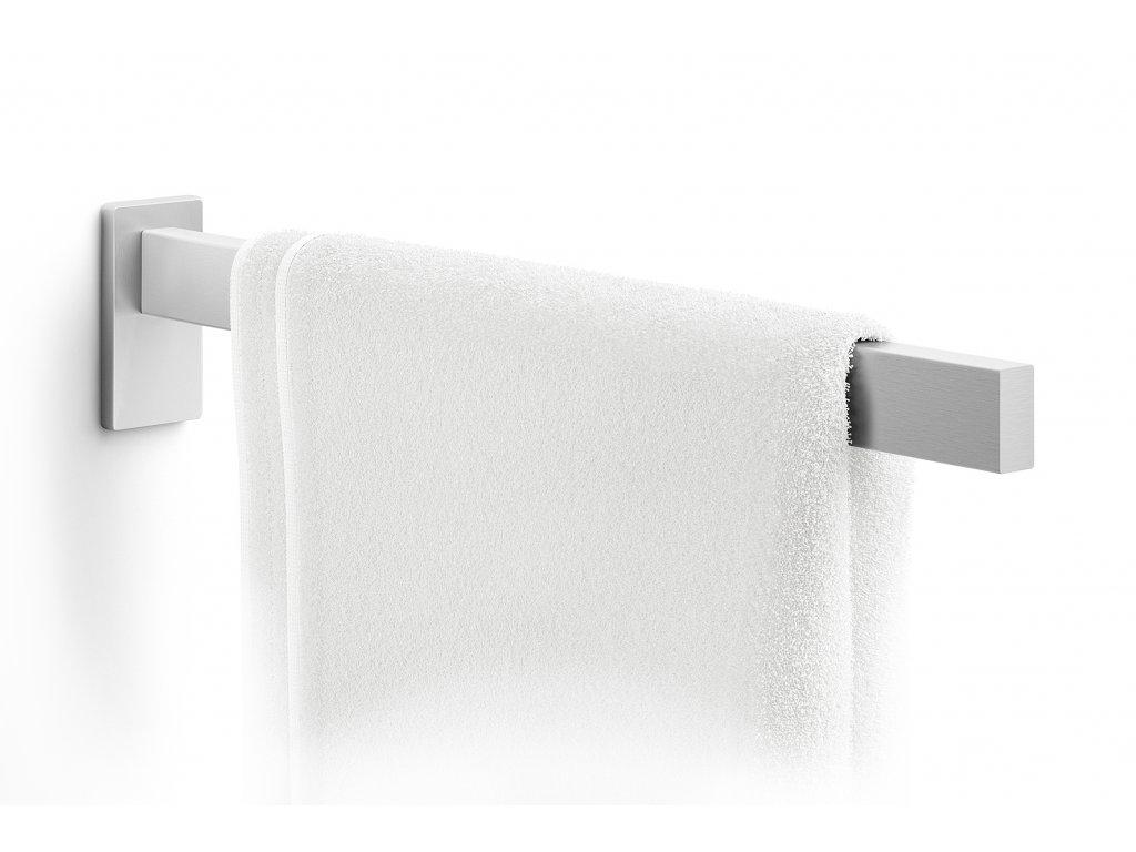 Koupelnový držák na ručníky nerezový broušený hranatý ZACK