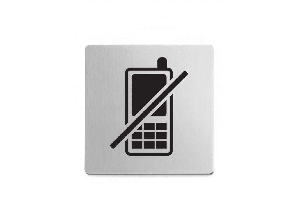 Piktogram zákaz telefonování samolepící broušený nerez ZACK