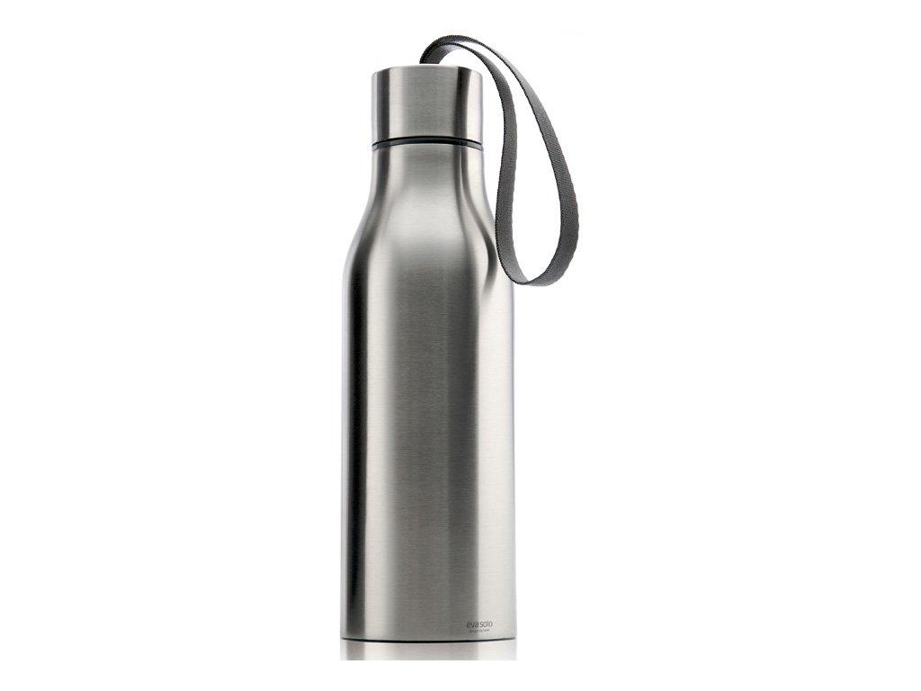 Termoizolační nápojová lahev 0,5 l matný nerez s šedým řemínkem, Eva Solo