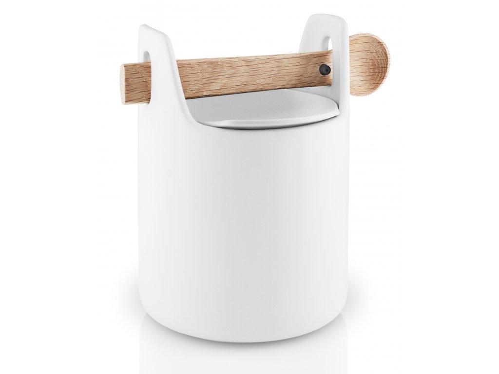 Dóza na potraviny s dřevěnou lžičkou bílá