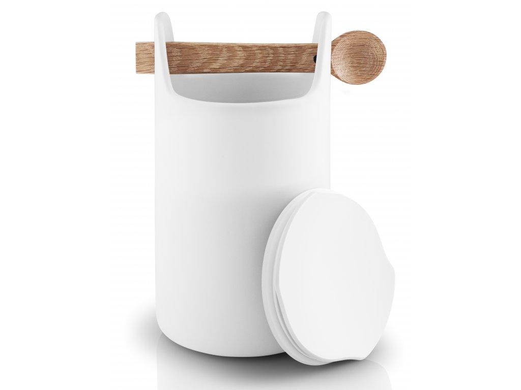 Dóza na potraviny s dřevěnou lžičkou vysoká bílá