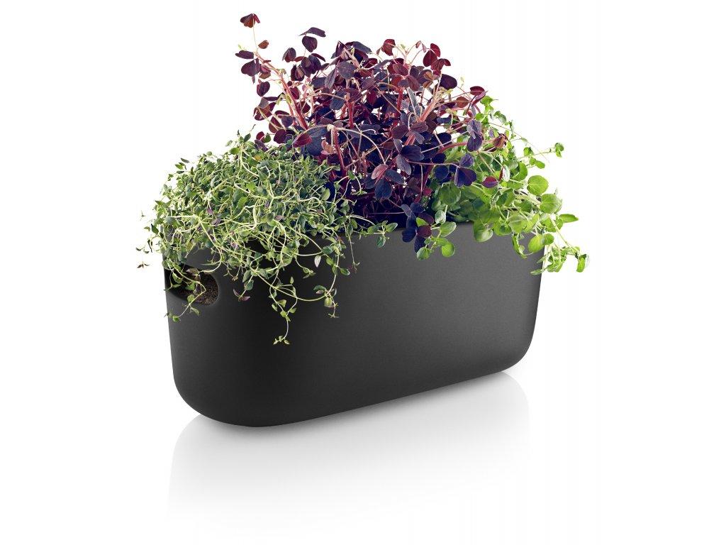 Samozavlažovací keramický květináč černý