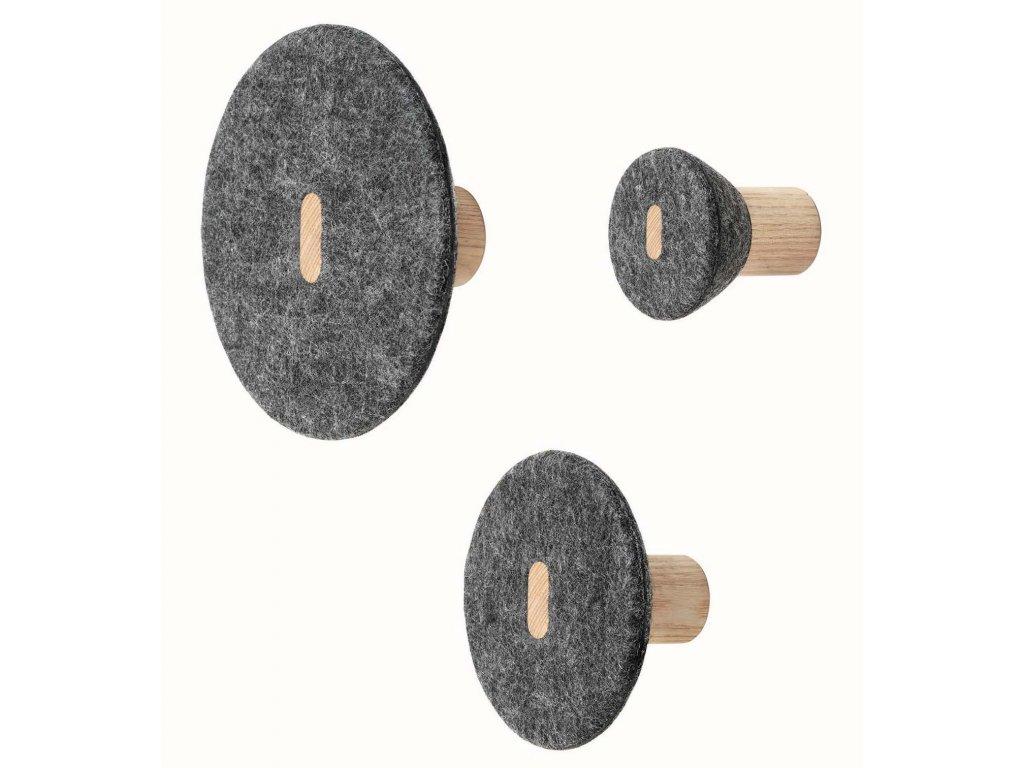 Set 3 háčků - dřevo/plsť BLOMUS