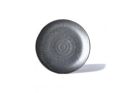 Made in Japan Mělký talíř s nepravidelným okrajem BB Black 24 cm černý
