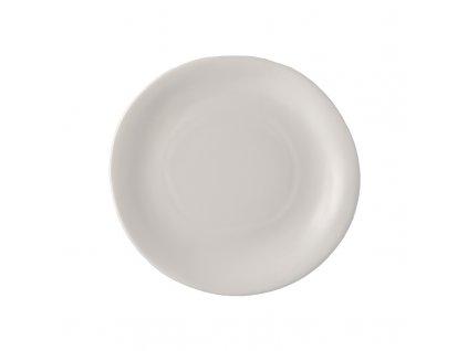 Made in Japan Bílý nepravidelný kulatý talíř MODERN 26 x 24 cm