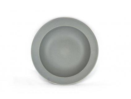 Made in Japan Hluboký talíř s širokým okrajem 21,5 cm šedý
