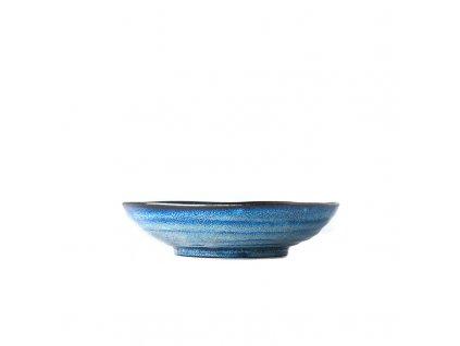 Made in Japan Velká mělká mísa Indigo Blue 21 cm 600 ml