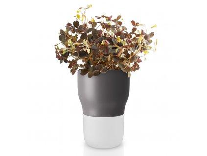 Samozavlažovací keramický květináč šedý Ø 9 cm, Eva Solo