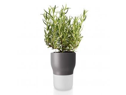 Samozavlažovací keramický květináč šedý Ø 11 cm, Eva Solo