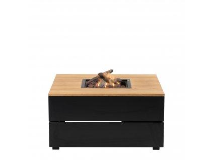 Stůl s plynovým ohništěm Cosipure 100 černý rám / deska teak
