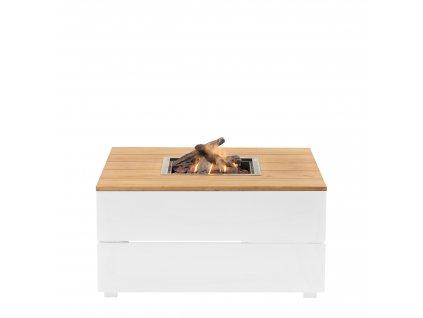 Stůl s plynovým ohništěm Cosipure 100 bílý rám / deska teak