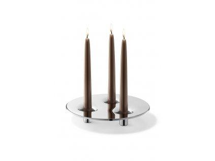 Svícen na tři svíce ALOMA lesklý nerez ZACK