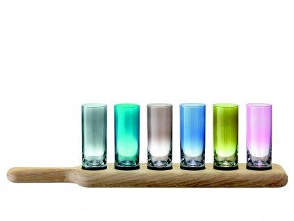 LSA Paddle dřevěný tác se skleničkami na destilát, různobarevné, 6 ks