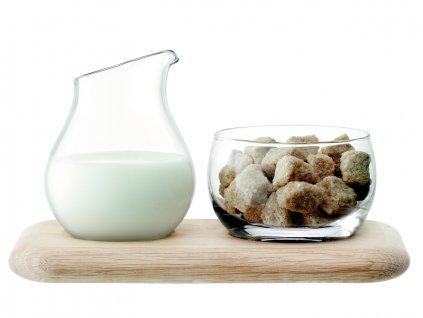 LSA Serve sada: cukřenka a konvička na mléko na dubovém tácku, 22,5 cm