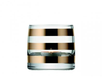 LSA Garbo svícen na čajovou svíčku, 8,5 cm, silné zlaté pásky