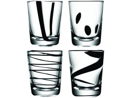LSA JAZZ sklenice 250 ml, set 4 ks, čirá/černá